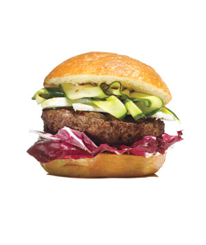 Burgers With Ricotta Salata and Pickled Zucchini