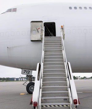 Airplane and boarding ramp