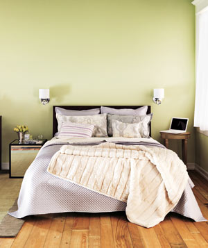 Serene Retreat Light Green Bedroom With Lavender And Cream Textiles