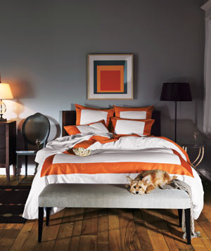Tailored chamber geometric bedroom with a dog on the foot of the bed
