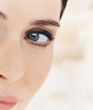 Blue-eyed woman wearing eye makeup