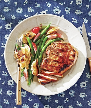 Marinated Pork Chops with Green Bean and Grilled Crouton Salad