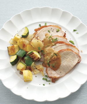 Pork Loin With Mustard Sauce and Sauteed Squash