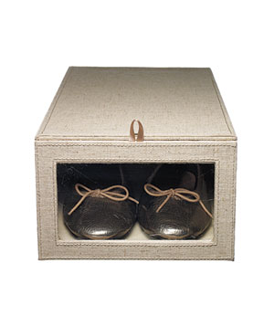 Linen drop-front shoe box