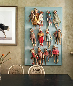 Sock monkey collection wall display