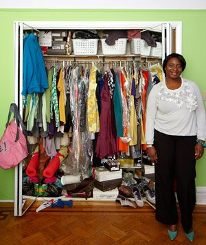 Mia's cluttered closet before closet makeover