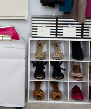 Closet with Container Store 12-Pair Shoe Organizer