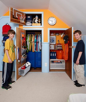 Twin boys' closets after closet makeover