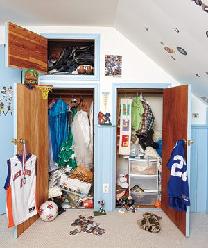 Twin boys' messy closets before closet makeover