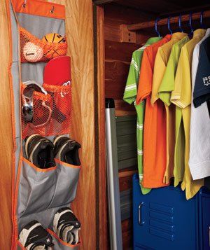Closet door with hanging shoe rack