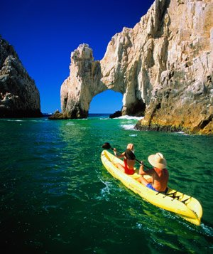 Couple kayaking in Cabo San Lucas, Mexico