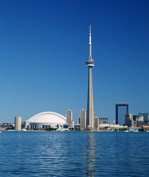 Skyline of Toronto, Canada, featuring the Skydome and CN Tower