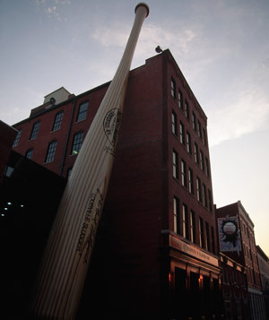 A giant baseball bat stands outside the Louisville Slugger Museum in Kentuck