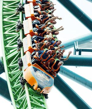 People riding world's fastest rollercoaster, Six Flags Great Adventure, New Jersey