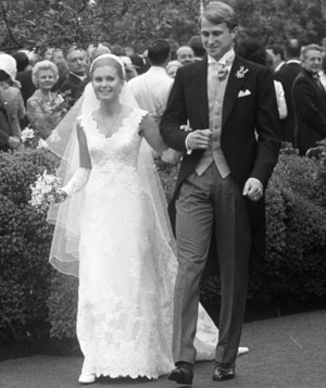 Tricia Nixon and Ed Cox on their wedding day