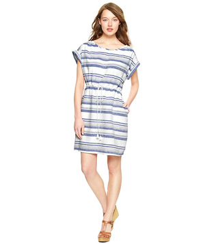 063638e8e1 Gap Multi-Stripe Linen T-shirt Dress