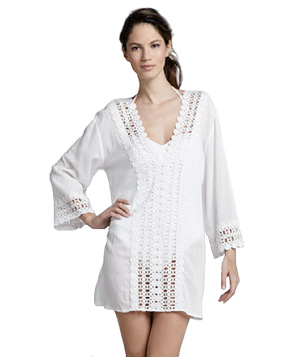 La Blanca Crochet-Trim Tunic Coverup