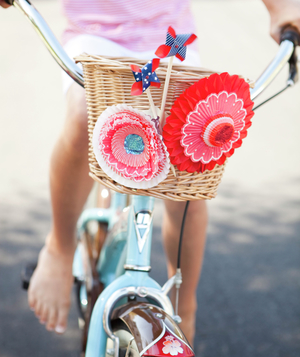 Child's bicycle basket with bright 4th of July decorations