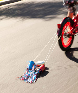 Colorful 4th of July noise-makers for bicycle