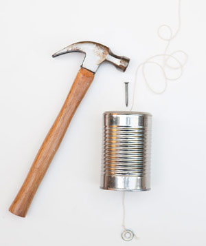 Hammer, nail, tin can, string