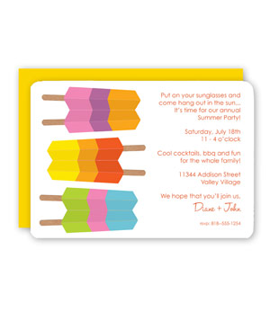 Striped Ice Pops Invitation