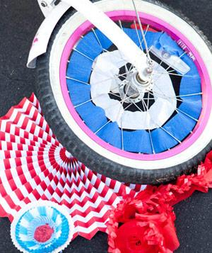 Colorful streamers in bicycle wheel