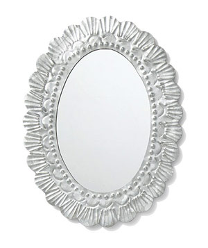 Pressed-tin mirror