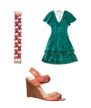 Tracey Reese silk dress, sequin bracelet and Nine West wedges