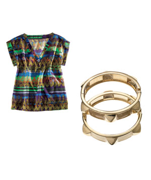 Glam top and Sequin bracelets