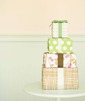 Stack of colorful wrapped gifts