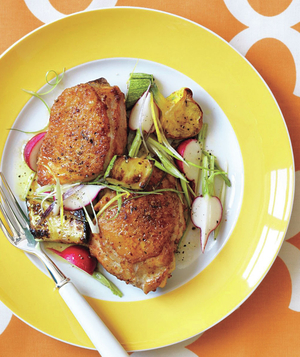 Roasted Chicken With Summer Squash, Radish, and Scallion Salad