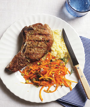Grilled Fennel-Crusted Pork Chops With Carrot Salad