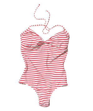 Red and white striped bathing suit