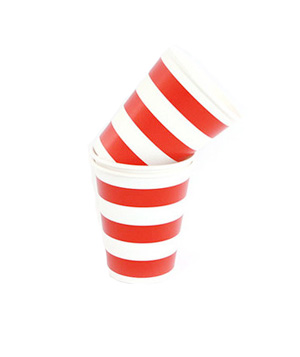 Striped plastic cups