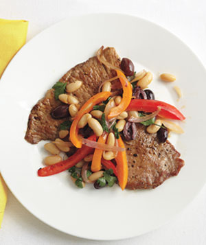 Pork Cutlets With Sautéed Peppers and Beans