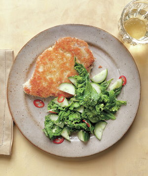 Pork Cutlets With Sauteed Mustard Greens