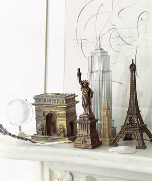 Travel Souvenirs on a mantel