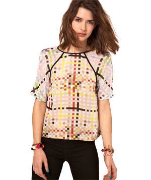 ASOS Woven T-Shirt With Mixed Square Print
