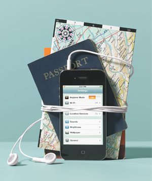 Ipod with Passport and Map