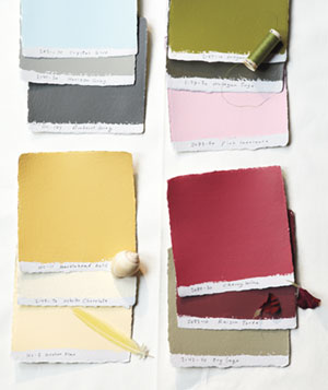 Paint swatches in various palettes