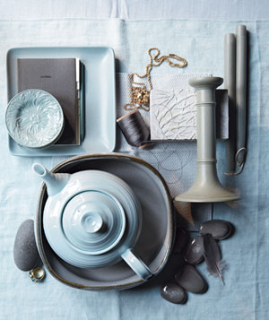 Blue and gray color inspiration accessories
