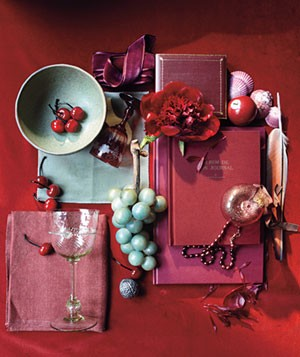 Berry, putty and burgundy inspiration accessories
