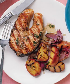 Gingery salmon with peaches recipe real simple gingery salmon with peaches forumfinder Images