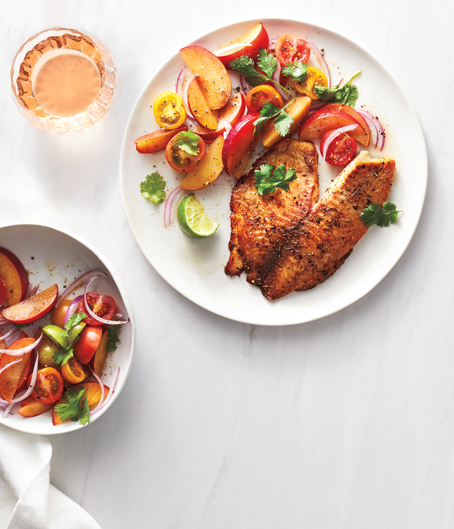 Blackened Tilapia With Peach-Tomato Salad