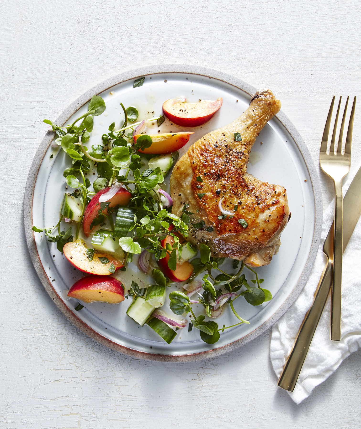 chicken-legs-peach-shallot-watercress-salad