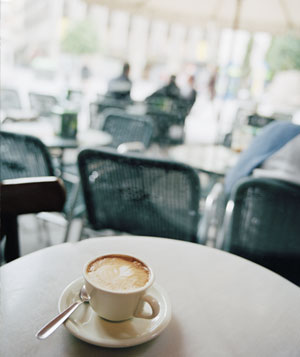 Cappuccino on a table at a cafe