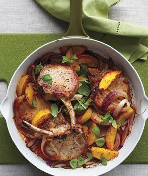 Roasted Pork Chops and Peaches