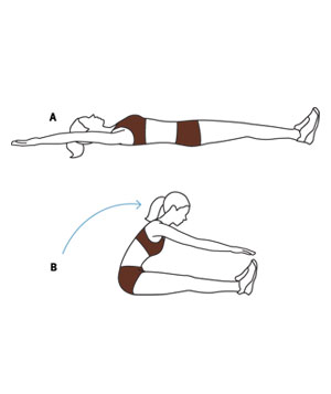 Ilration Of Women Doing Roll Up Abdominal Exercises