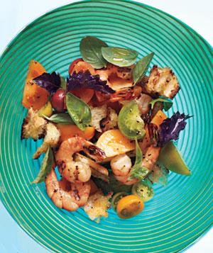 Grilled Shrimp Panzanella With Basil