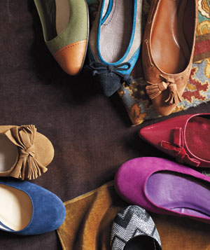 Circular arrangement of colorful suede flats